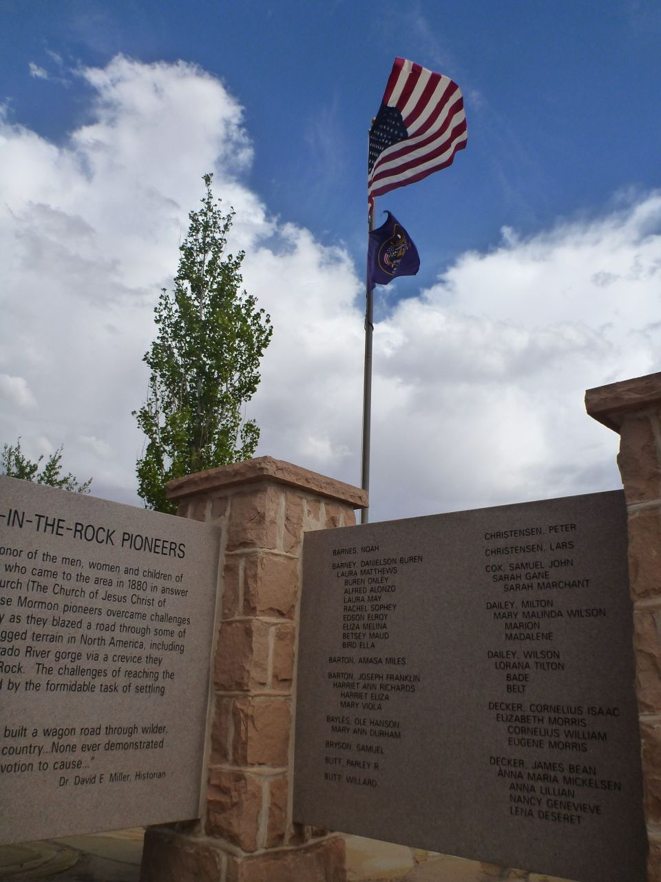 Memorial Wall With Pioneers Names